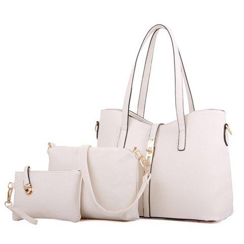 Ladylike Solid Color and Zip Design Women's Tote Bag - OFF WHITE