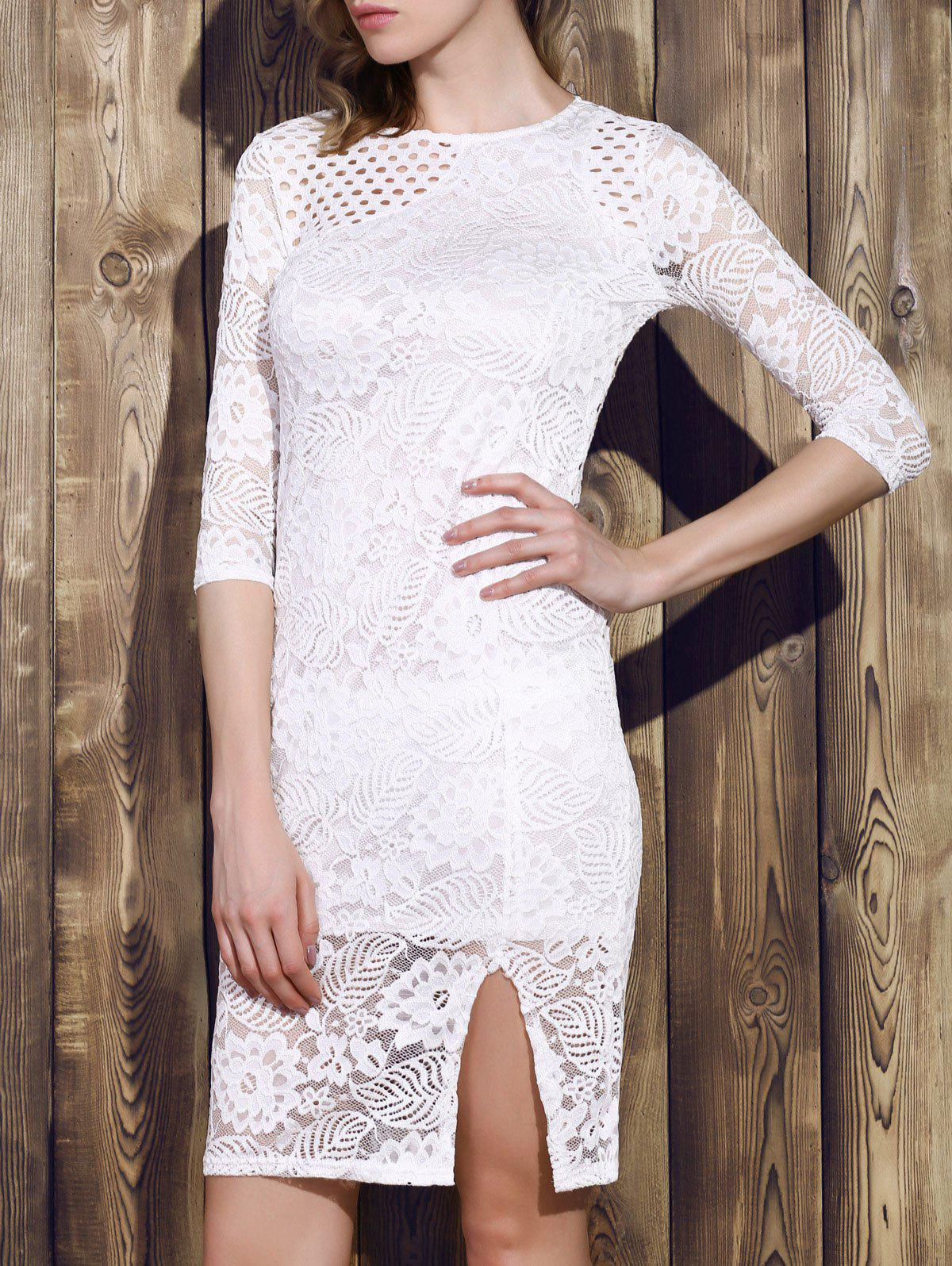 Trendy Round Neck 3/4 Sleeve Hollow Out Dress For Women - WHITE XL
