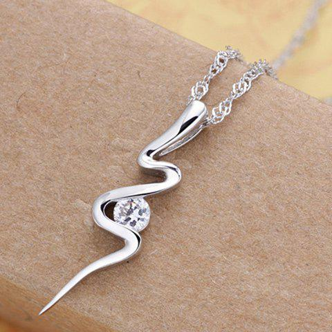 Lightning Shape Rhinestoned Pendant Necklace - SILVER