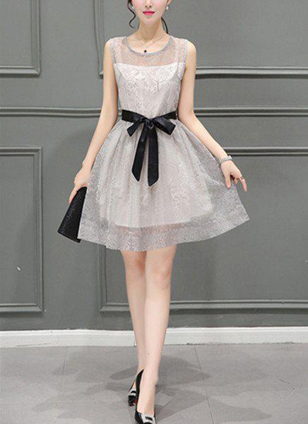 Trendy Round Neck Voile Splicing Sleeveless Bowknot Decorated Dress For Women - GRAY S