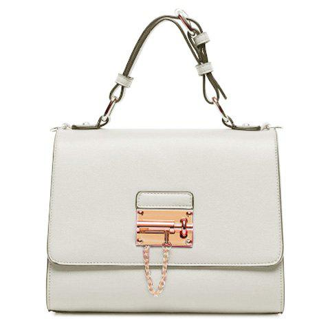 Fashion Solid Color and Cover Design Women's Tote Bag - WHITE