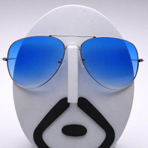 Fashion Alloy Frame Candy Color Lenses Pilot Sunglasses - BLUE
