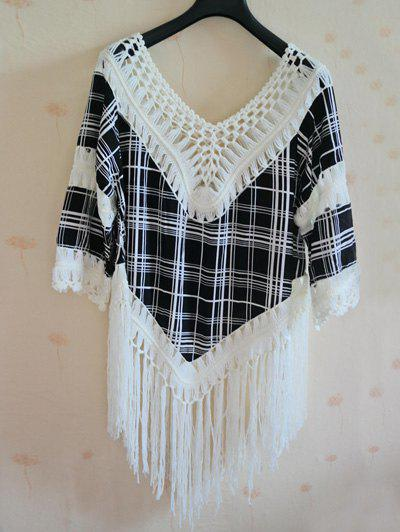 Trendy 3/4 Sleeve V-Neck Fringed Asymmetrical Plaid Women's Cover-Up - WHITE ONE SIZE(FIT SIZE XS TO M)