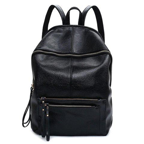 Fashion Solid Color and Zip Design Women's Satchel - BLACK