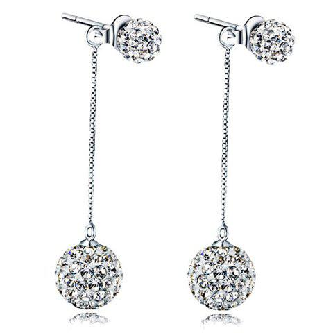 Pair of Elegant Rhinestoned Ball Drop Earrings For Women -  SILVER
