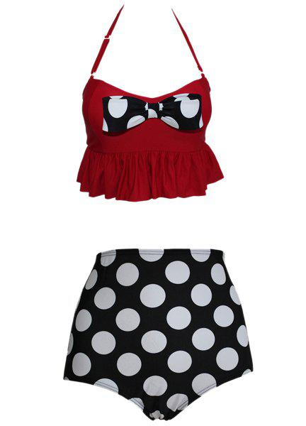 Sweet Women's Spaghetti Straps Flounce Polka Dot Tankini Set - RED/BLACK M