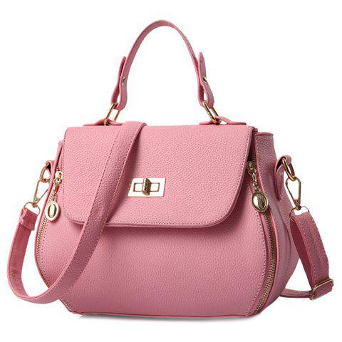 Stylish Zip and Solid Colour Design Women's Shoulder Bag - PINK