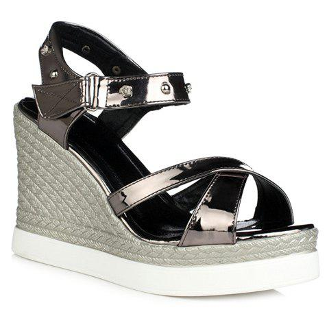 Fashion Cross Strap and Wedge Heel Design Women's Sandal - GUN METAL 37