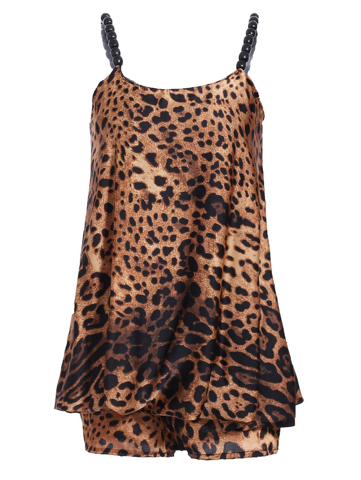 Stylish Women's Spaghetti Strap Leopard Print Top + Shorts Twinset - LEOPARD ONE SIZE(FIT SIZE XS TO M)
