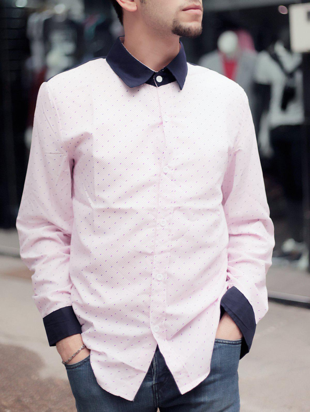 Slimming Shirt Collar Trendy Color Block Twill Splicing Long Sleeve Cotton Blend Men's Shirt - PINK 2XL