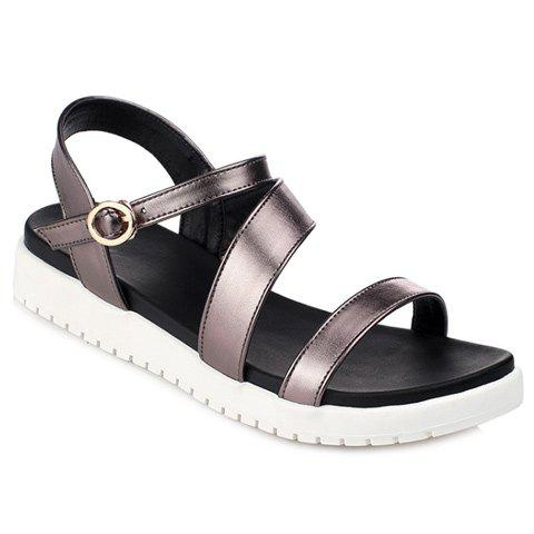 Fashion Solid Color and Strap Design Women's Sandals - GUN METAL 36