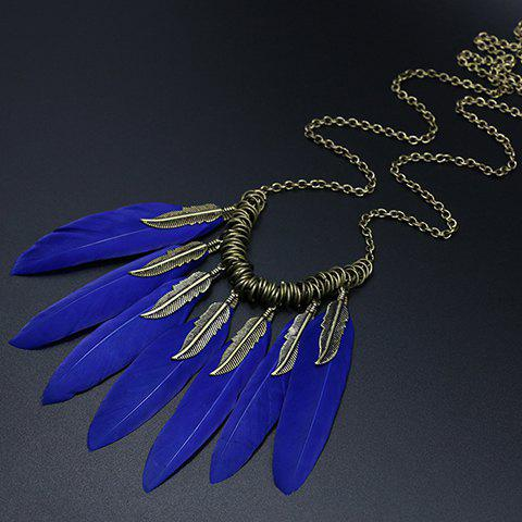 Chic Blue Feathers Embellished Women's Sweater Chain - BLUE