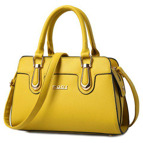 Trendy Solid Color and Metal Design Women's Tote Bag - YELLOW