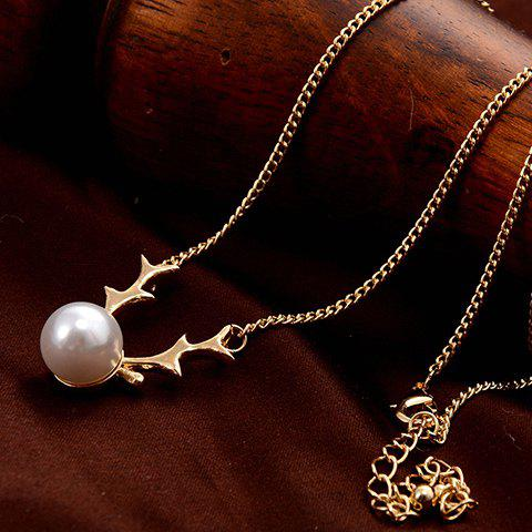 Faux Pearl Deer Horn Pendant Necklace - GOLDEN