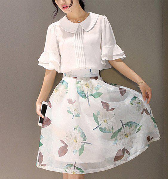 Chic 1/2 Sleeve Blouse + Floral Print Skirt For Women - WHITE L