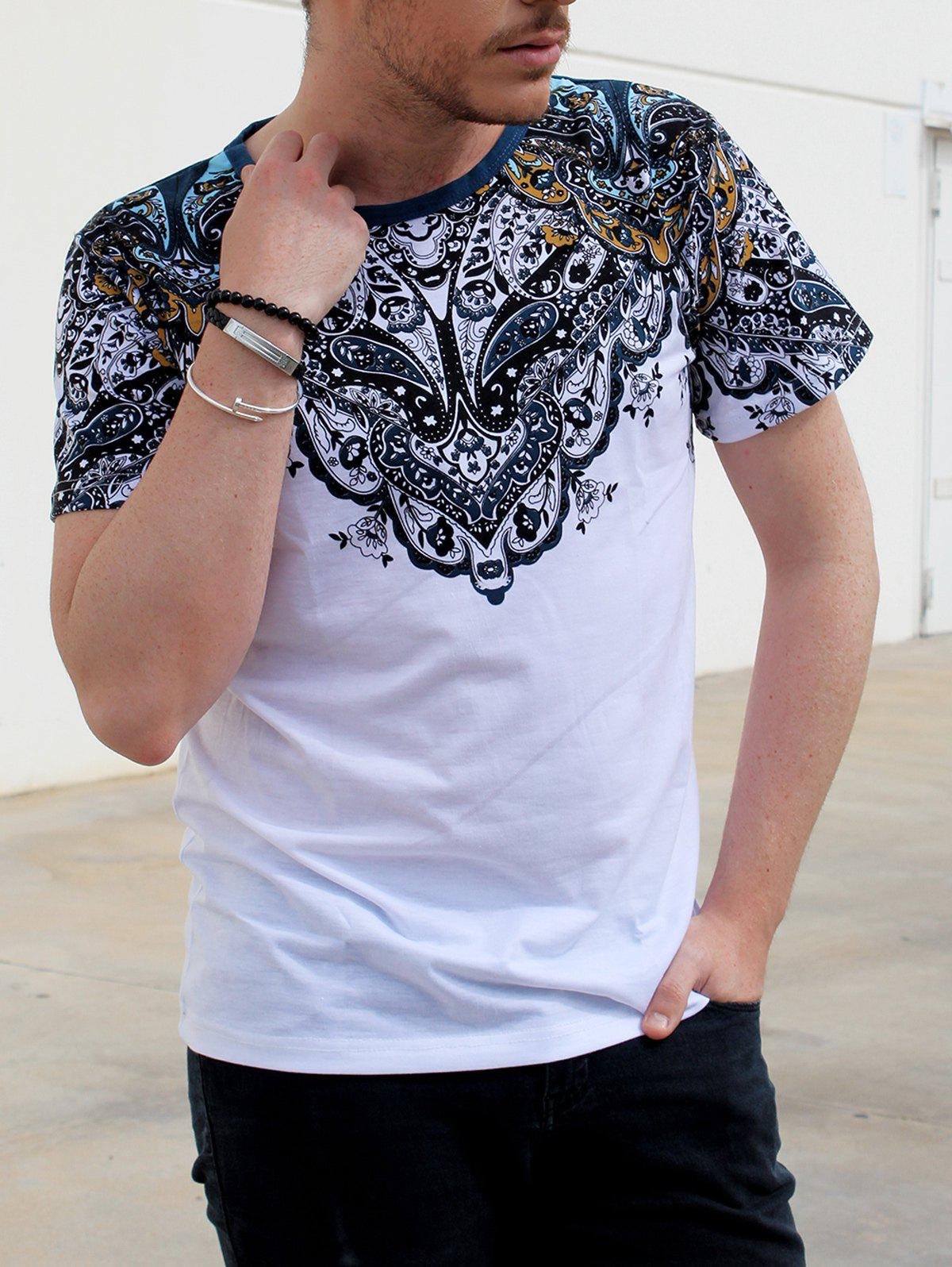 Vintage Round Neck Totem Print Color Block Short Sleeves Men's Fitted T-Shirt - WHITE M