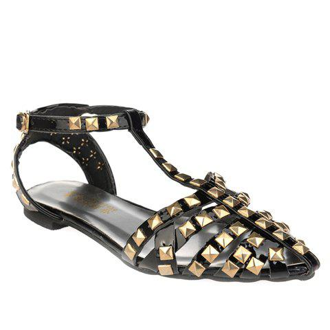 Casual Rivets and T-Strap Design Women's Sandals - BLACK 35
