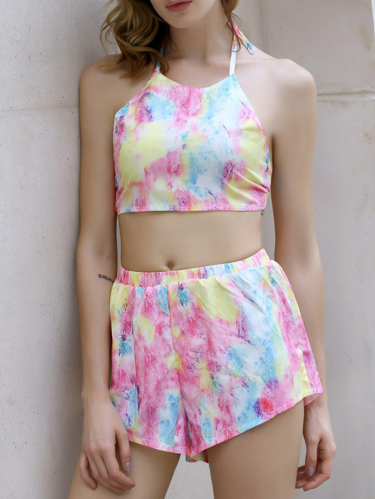 Alluring Women's Tie-Dyed Halter Crop Top + Shorts Twinset - COLORMIX M