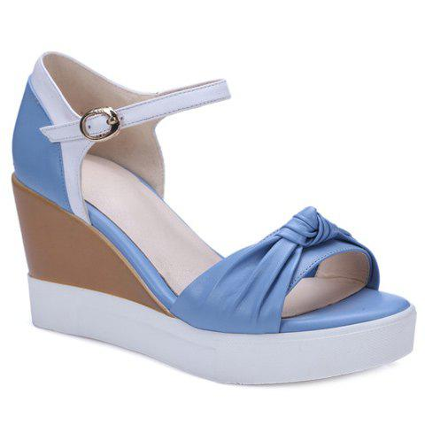Casual Color Block and Wedge Heel Design Women's Sandals - BLUE 38