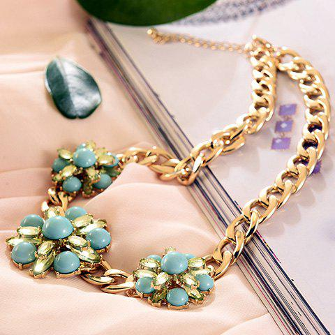 Chic Flower Shape Embellished Women's Chunky Sweater Chain - GOLDEN
