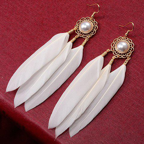 Pair of Faux Pearl Inlay Feather Pendant Drop EarringsJewelry<br><br><br>Color: WHITE