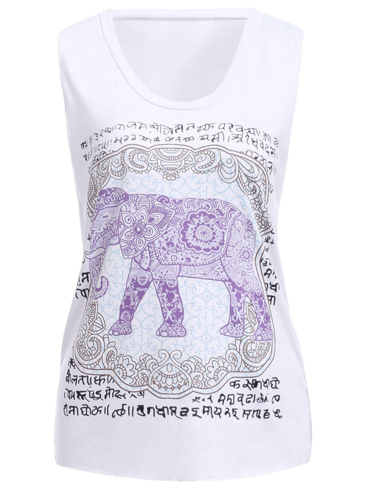Leisure Style Scoop Neck Loose-Fitting Elephant Print Women's Tank Top - WHITE M