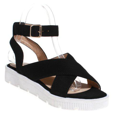 Casual Cross Strap and Suede Design Womens SandalsShoes<br><br><br>Size: 38<br>Color: BLACK