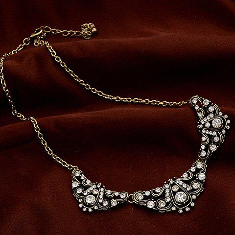 Retro Rhinestone Fake Collar Necklace - GOLDEN
