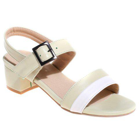 Fashion Color Block and Chunky Heel Design Women's Sandals - LIGHT GREEN 38