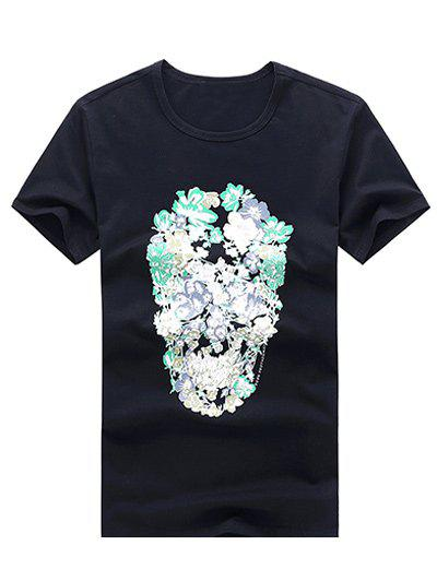 Round Neck Face Floral Printing Short Sleeve Casual T-Shirt For Men - BLACK XL