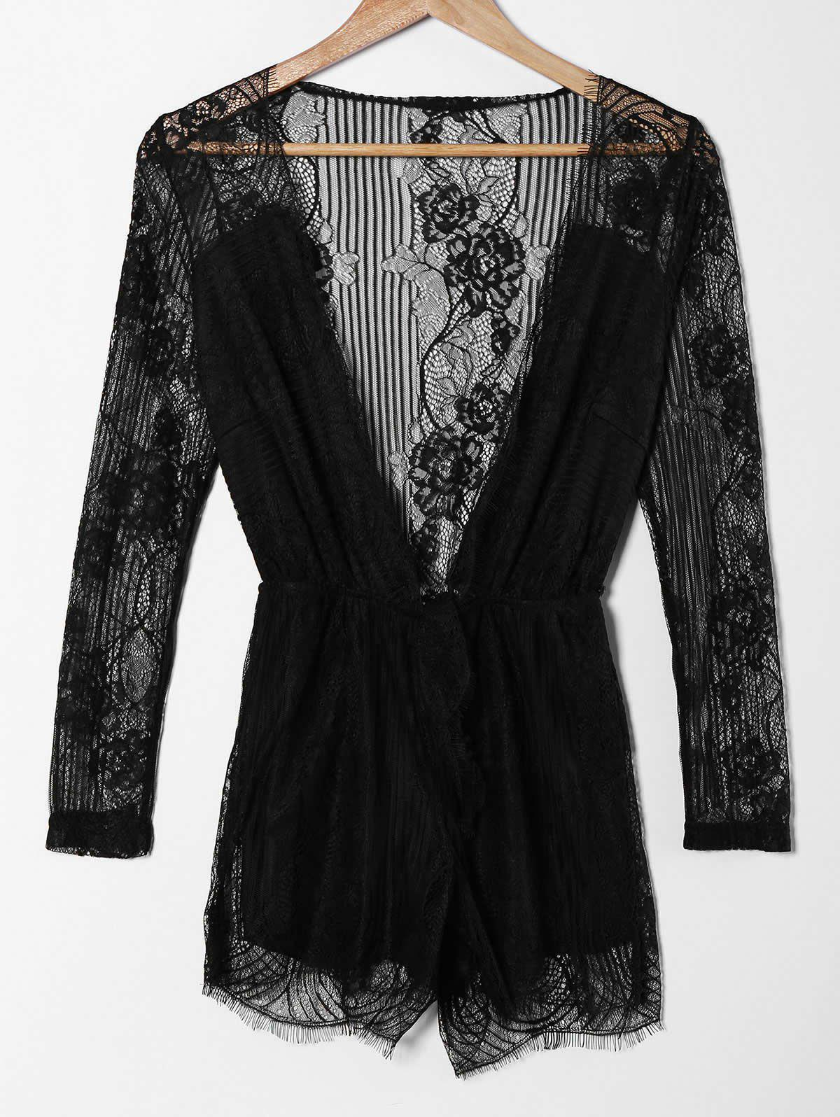 Chic Long Sleeve Plunging Neck Pure Color Hollow Out Women's Romper - BLACK XL
