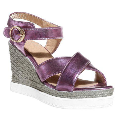 Fashion Cross Strap and Wedge Heel Design Women's Sandals - PINK 35