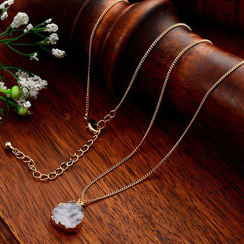 Faux Gemstone Embellished Necklace - WHITE