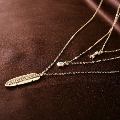 Forme Feather Key Chic Eye Pendant trois couches Les femmes de l  'Pull Chain - Or