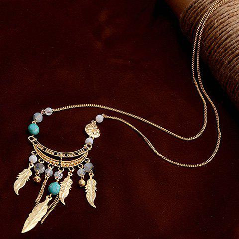 Leaf Beads Tassel Pendant Sweater Chain - GOLDEN