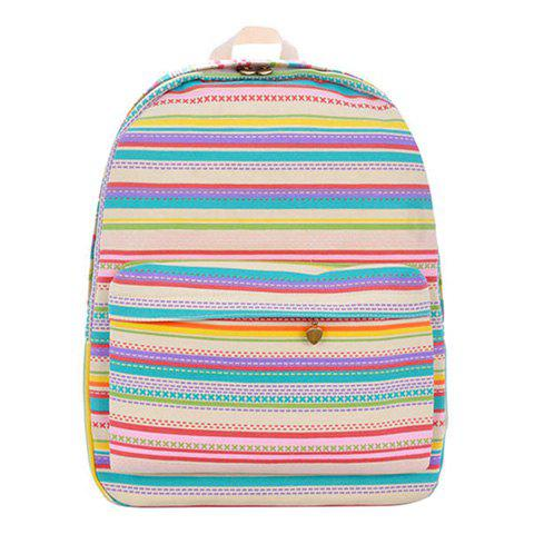 Casual Candy Color and Striped Design Women's Satchel - COLORMIX