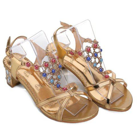 Stylish Metal and Rhinestones Design Women's Sandals - GOLDEN 39