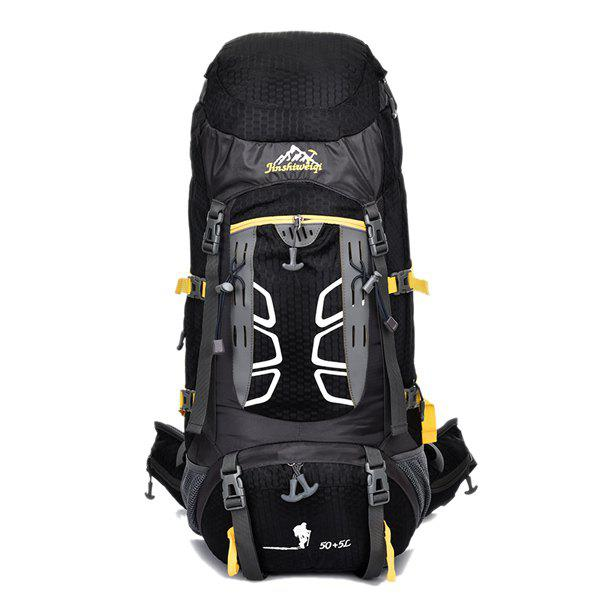 High Quality 55L Large Capacity Travel Hiking Backpack Waterproof Outdoor Climbing Bag - BLACK