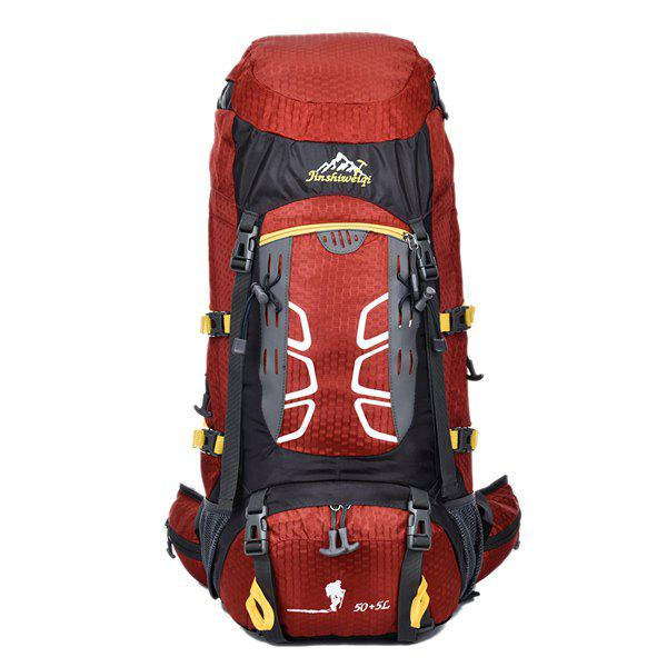High Quality 55L Large Capacity Travel Hiking Backpack Waterproof Outdoor Climbing Bag - DEEP RED