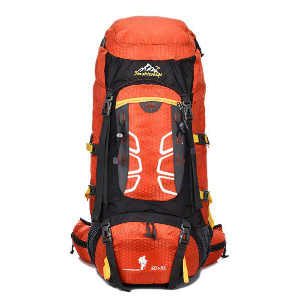 High Quality 55L Large Capacity Travel Hiking Backpack Waterproof Outdoor Climbing Bag - ORANGEPINK