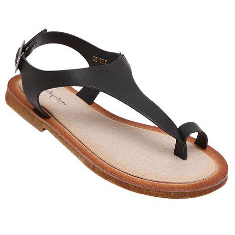 Laconic Flat Heel and T-Strap Design Women's Sandals - BLACK 39