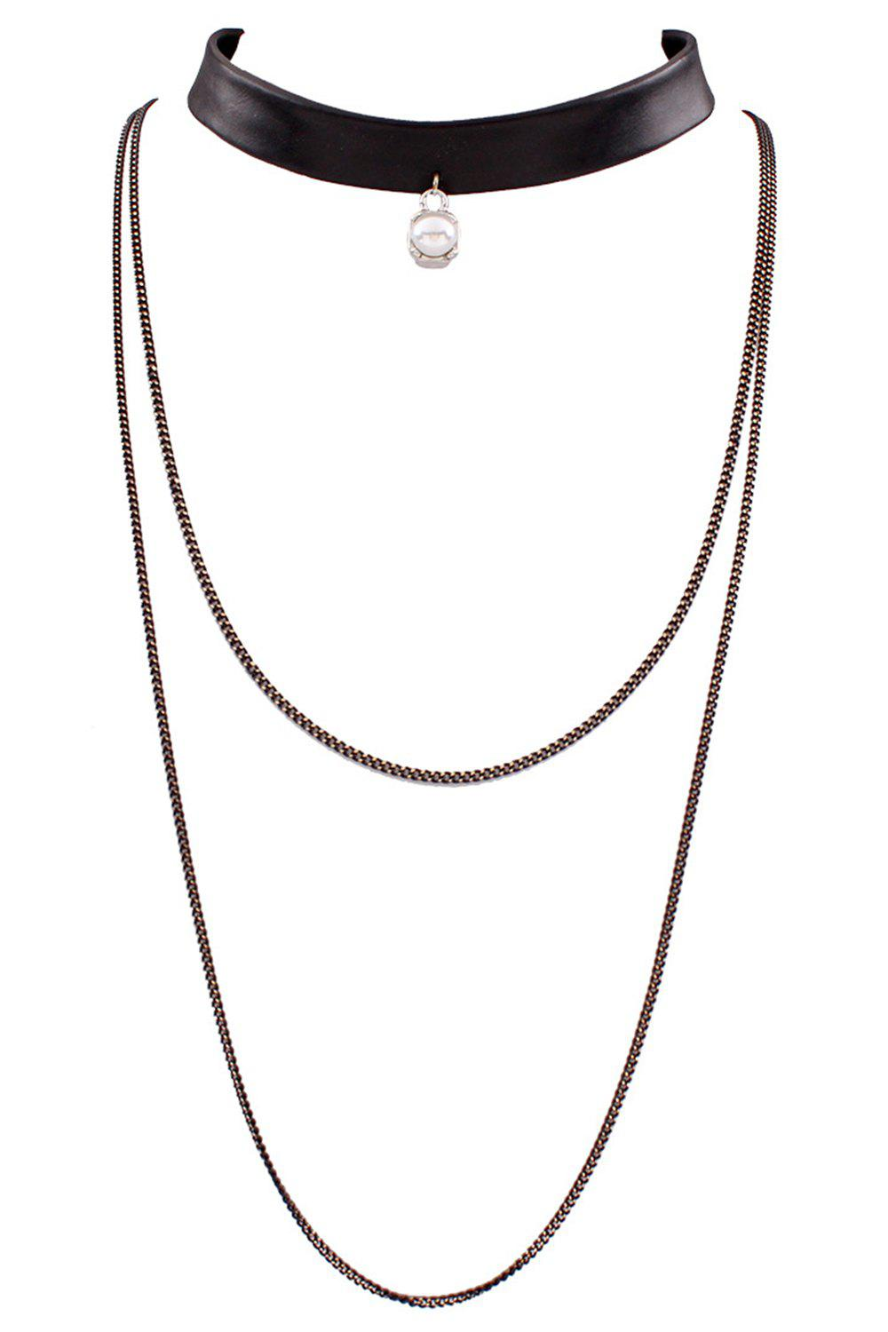 Multilayered Chain PU Leather Necklace - BLACK
