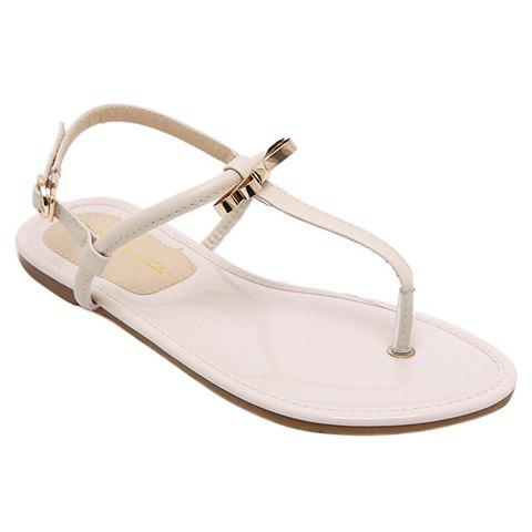 Concise Bow and T-Strap Design Women's Sandals - APRICOT 38