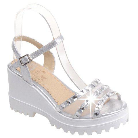 Fashionable Rhinestones and Gauze Design Women's Sandals - SILVER 39