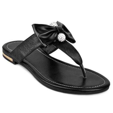 Ladylike Rhinestones and Bowknot Design Women's Slippers - BLACK 38
