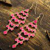 Pair of Hollow Out Geometric Pendant Earrings - ROSE