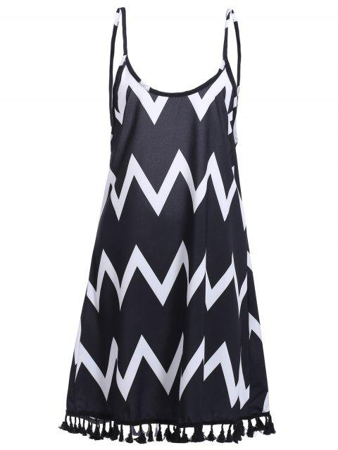 Bohemian Women's Backless Zigzag Stripe Fringed Dress - BLACK S