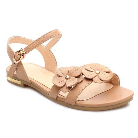 Leisure Solid Colour and Flowers Design Women's Sandals - APRICOT 37