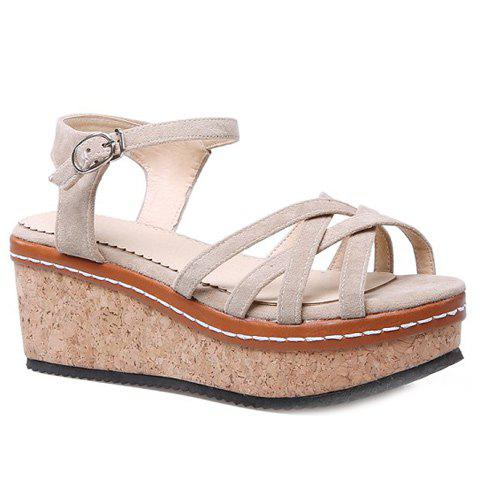 89ece8622a147 17% OFF  2019 Simple Cross Strap and Suede Design Women s Sandals In ...