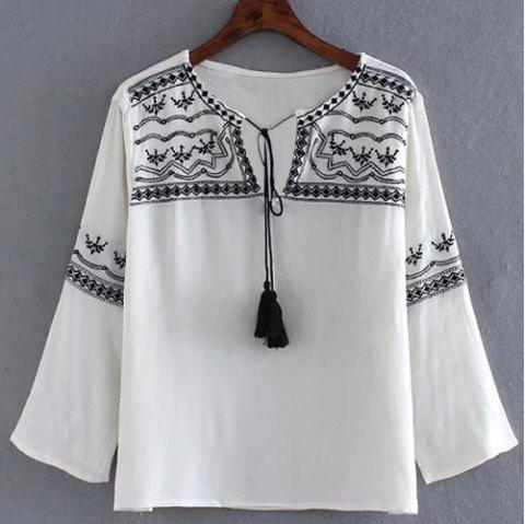 Stylish Embroidery Embellished 3/4 Sleeve Self-Tie Women's Blouse - WHITE S
